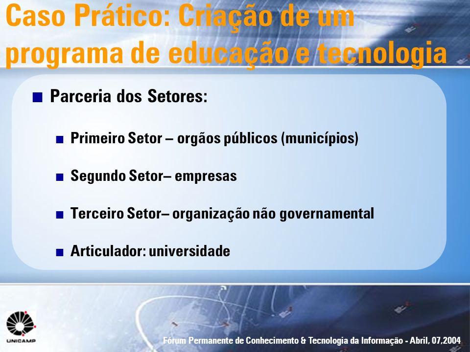 Fórum Permanente de Conhecimento & Tecnologia da Informação - Abril, 07,2004 Caso Prático: Criação de um programa de educação e tecnologia n Parceria