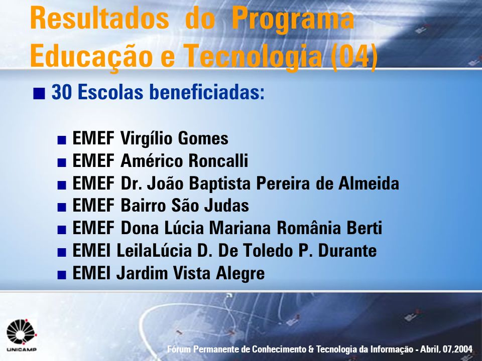 Fórum Permanente de Conhecimento & Tecnologia da Informação - Abril, 07,2004 n 30 Escolas beneficiadas: n EMEF Virgílio Gomes n EMEF Américo Roncalli