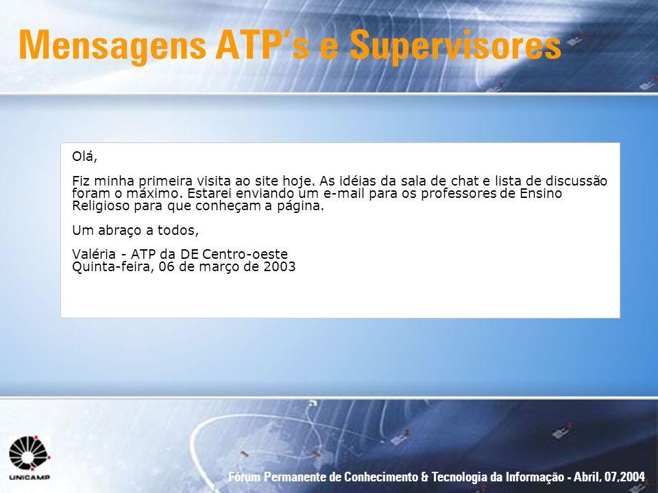 Fórum Permanente de Conhecimento & Tecnologia da Informação - Abril, 07,2004 Mensagens ATPs e Supervisores Olá, Fiz minha primeira visita ao site hoje