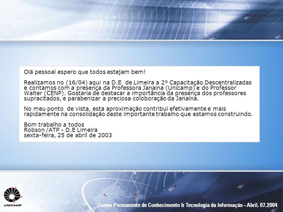 Fórum Permanente de Conhecimento & Tecnologia da Informação - Abril, 07,2004 Olá pessoal espero que todos estejam bem! Realizamos no (16/04) aqui na D
