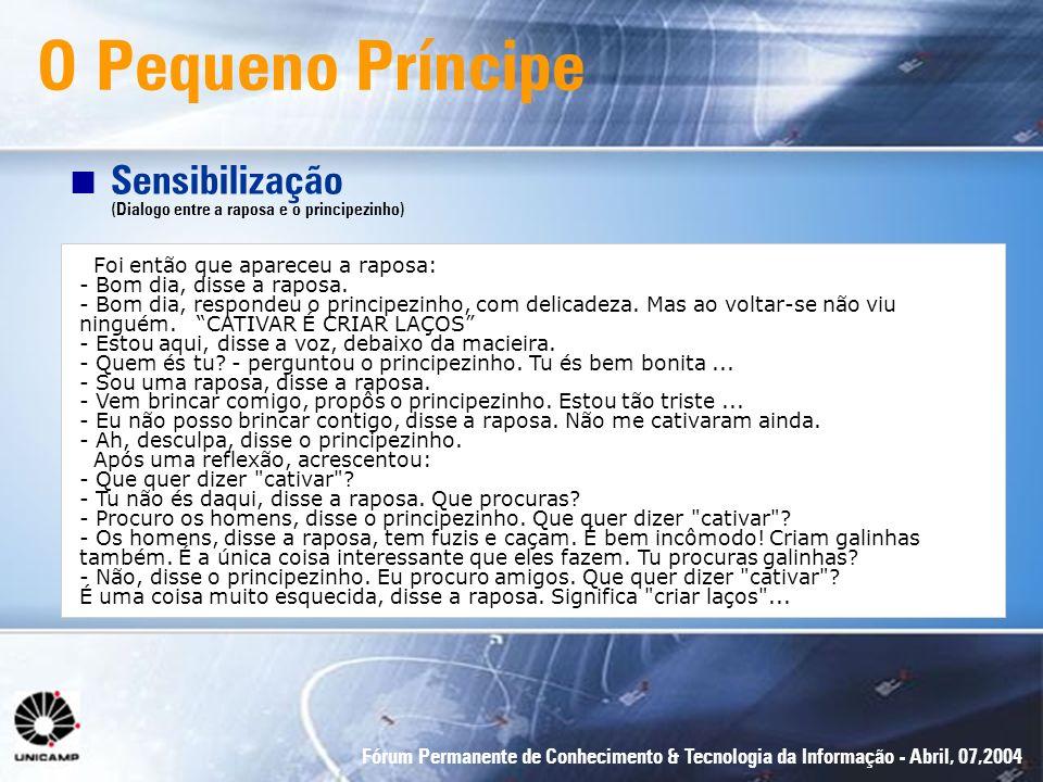 Fórum Permanente de Conhecimento & Tecnologia da Informação - Abril, 07,2004 O Pequeno Príncipe n Sensibilização (Dialogo entre a raposa e o principez