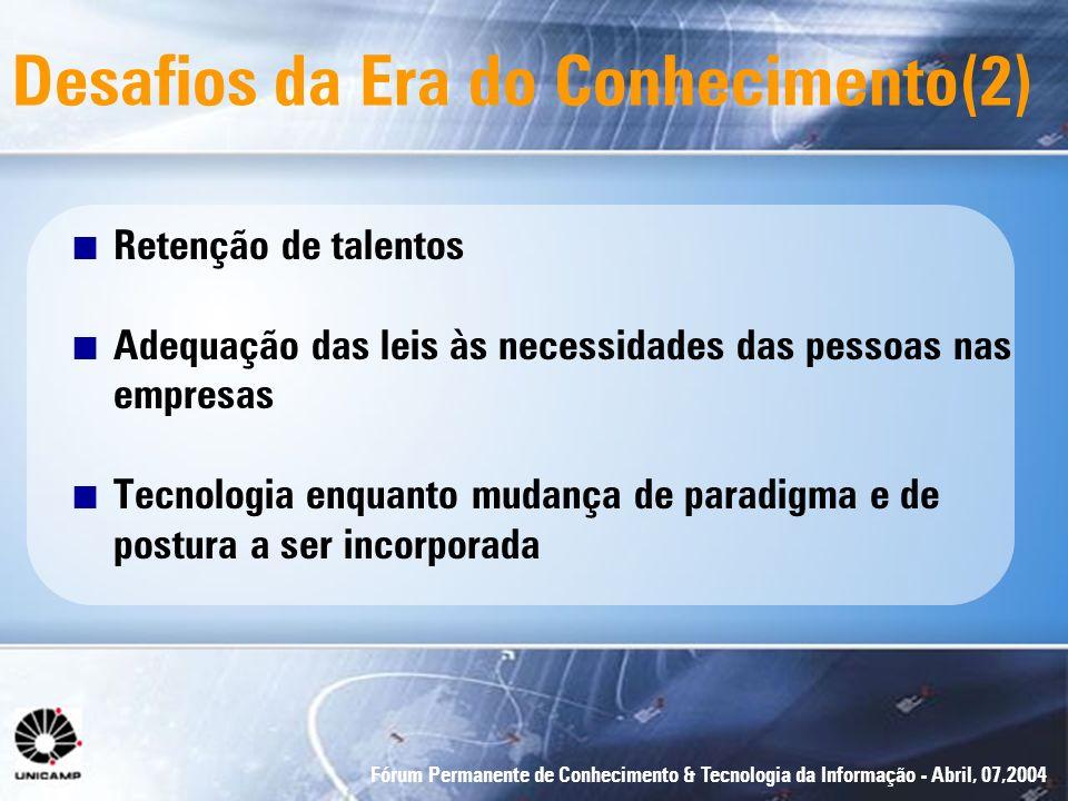 Fórum Permanente de Conhecimento & Tecnologia da Informação - Abril, 07,2004 Desafios da Era do Conhecimento(2) n Retenção de talentos n Adequação das