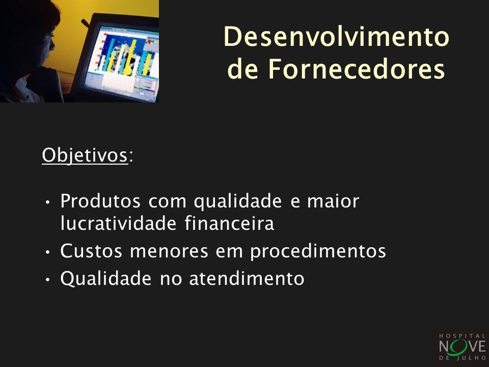 Objetivos: Produtos com qualidade e maior lucratividade financeira Custos menores em procedimentos Qualidade no atendimento Desenvolvimento de Fornece