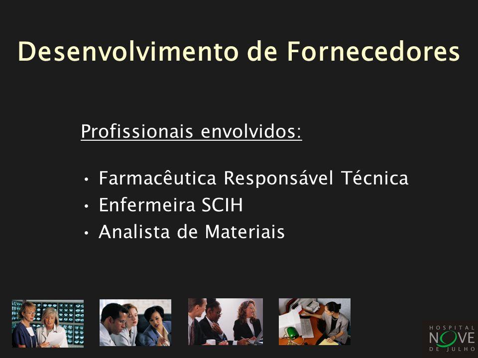 Profissionais envolvidos: Farmacêutica Responsável Técnica Enfermeira SCIH Analista de Materiais Desenvolvimento de Fornecedores