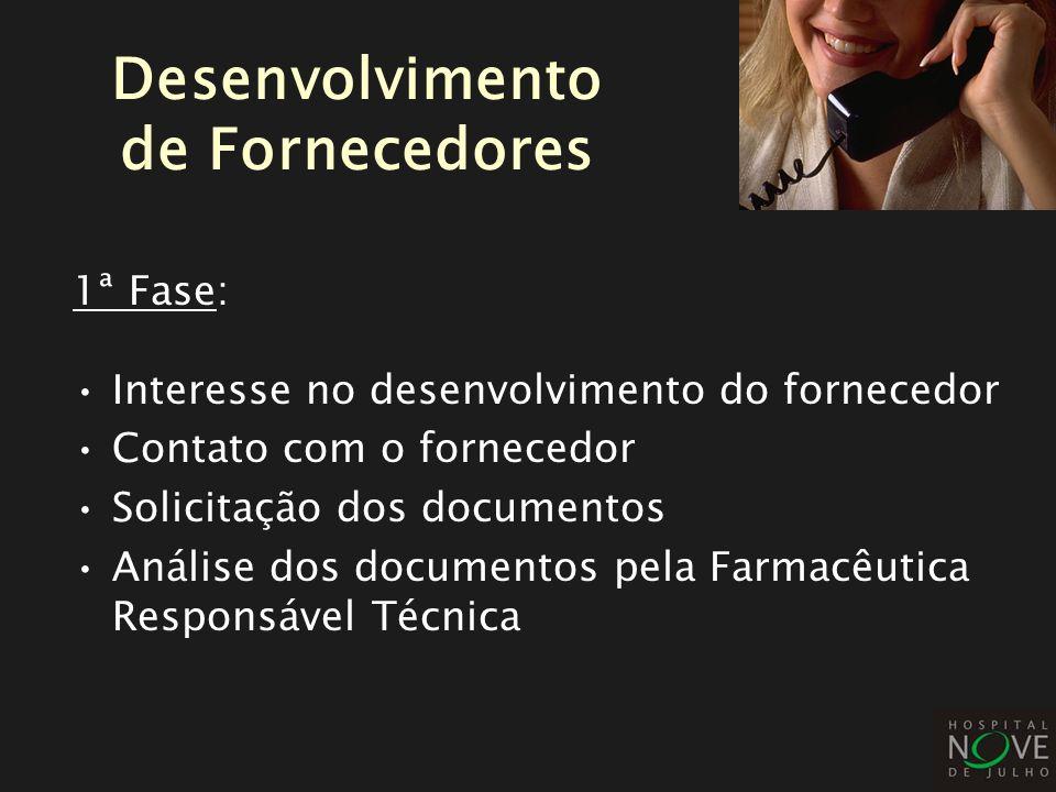 1ª Fase: Interesse no desenvolvimento do fornecedor Contato com o fornecedor Solicitação dos documentos Análise dos documentos pela Farmacêutica Respo