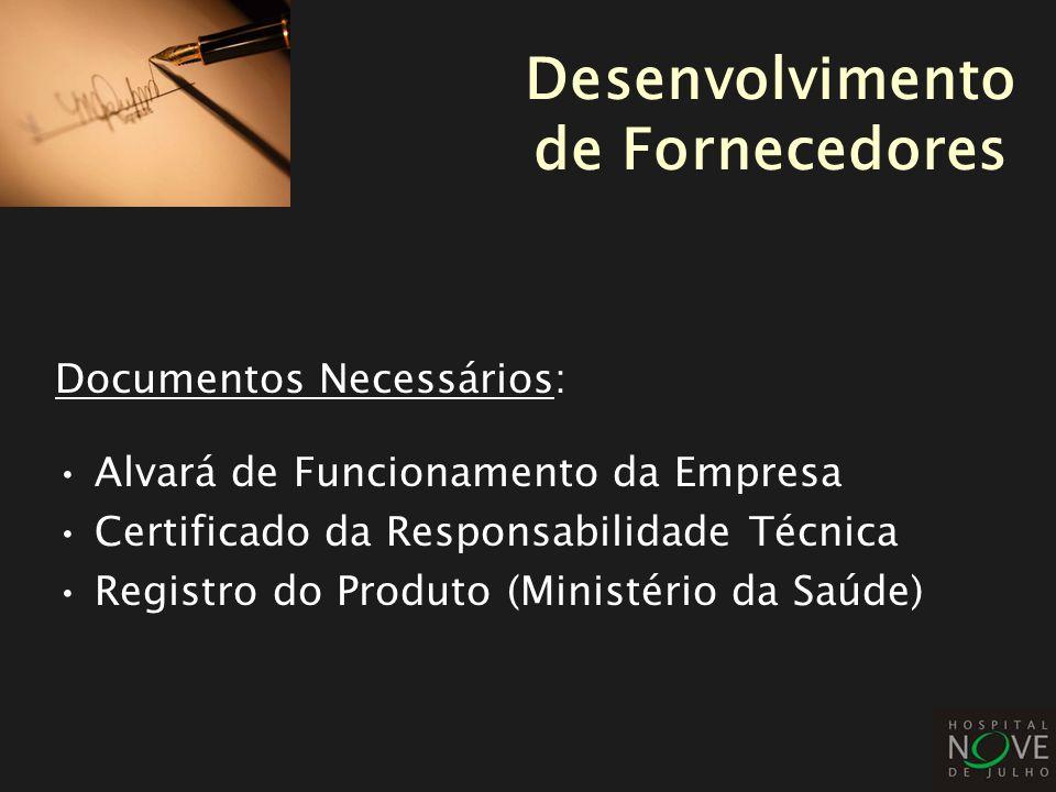 Documentos Necessários: Alvará de Funcionamento da Empresa Certificado da Responsabilidade Técnica Registro do Produto (Ministério da Saúde) Desenvolv