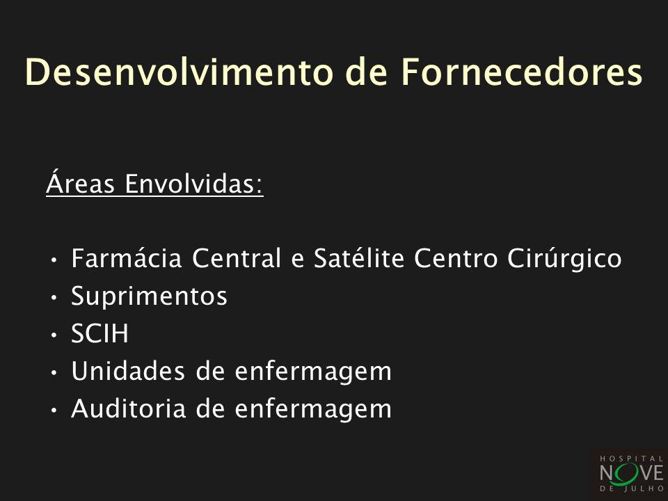Áreas Envolvidas: Farmácia Central e Satélite Centro Cirúrgico Suprimentos SCIH Unidades de enfermagem Auditoria de enfermagem Desenvolvimento de Forn