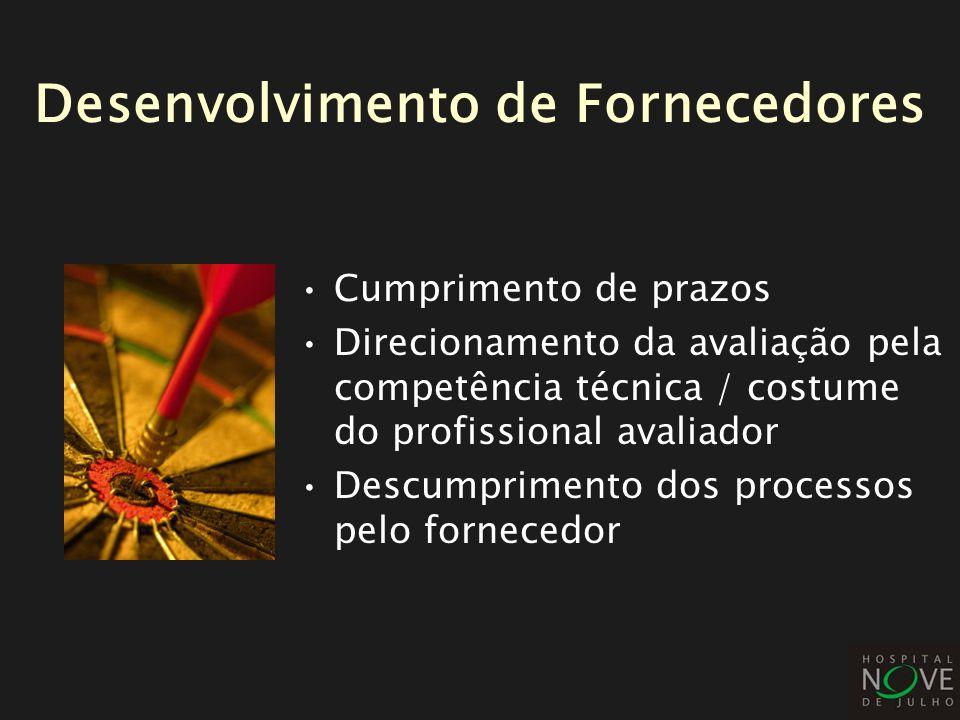 Cumprimento de prazos Direcionamento da avaliação pela competência técnica / costume do profissional avaliador Descumprimento dos processos pelo forne
