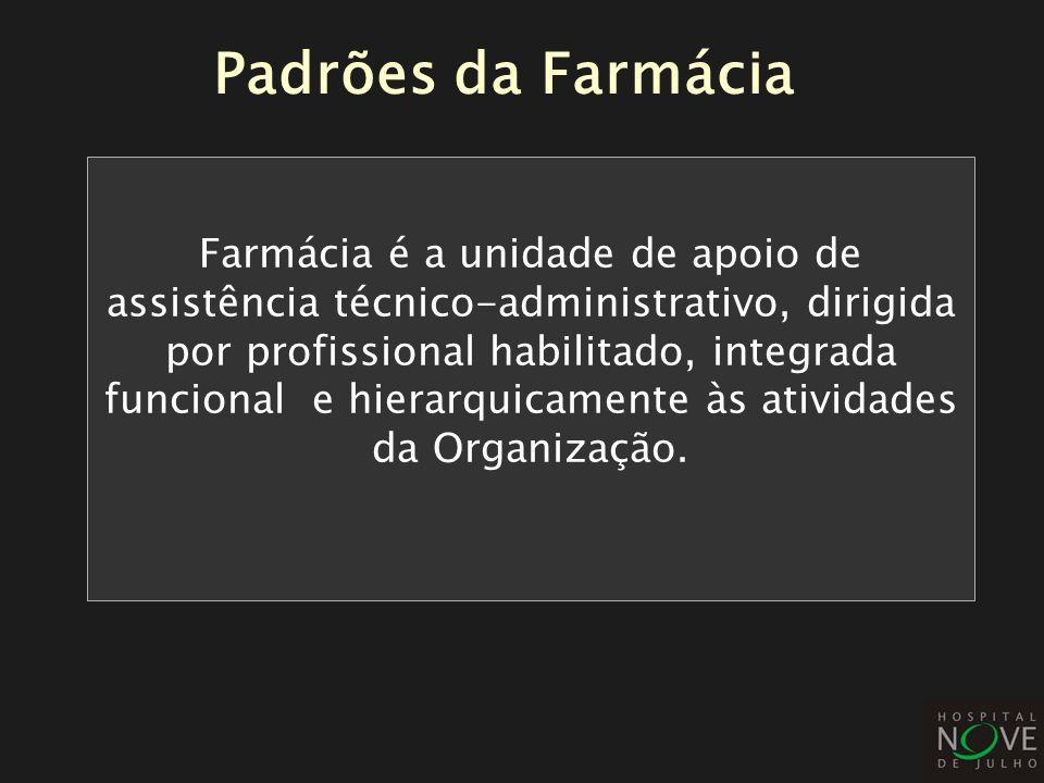 Padrões da Farmácia Farmácia é a unidade de apoio de assistência técnico-administrativo, dirigida por profissional habilitado, integrada funcional e h