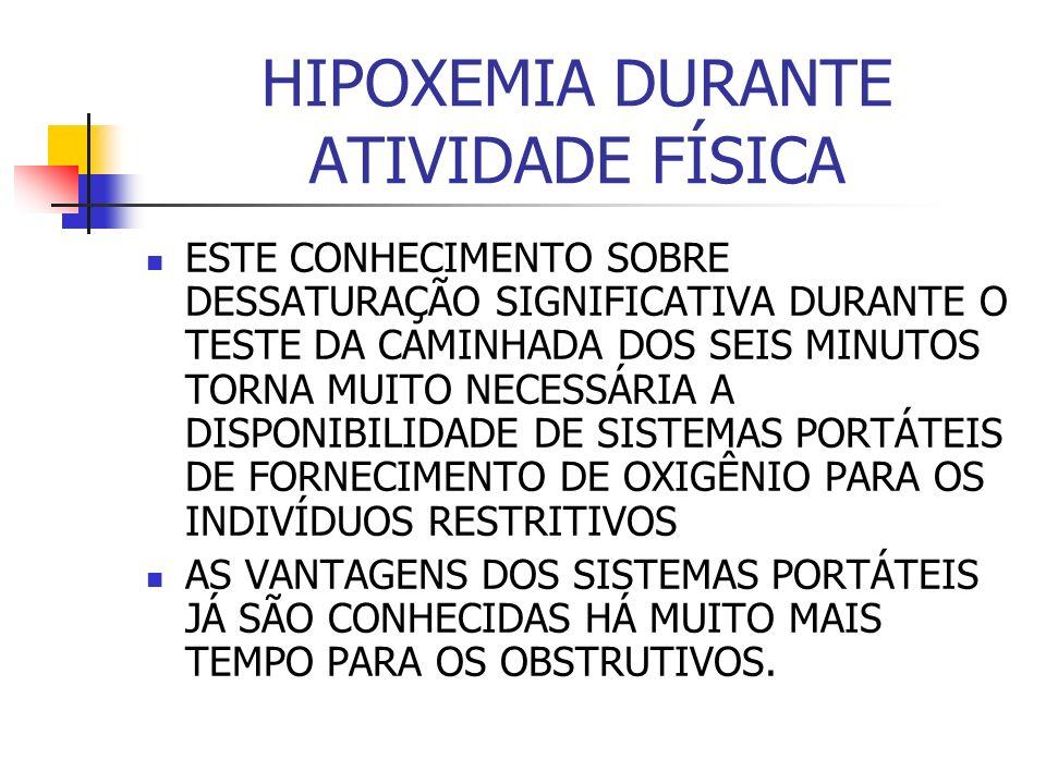 HIPOXEMIA DURANTE ATIVIDADE FÍSICA ESTE CONHECIMENTO SOBRE DESSATURAÇÃO SIGNIFICATIVA DURANTE O TESTE DA CAMINHADA DOS SEIS MINUTOS TORNA MUITO NECESSÁRIA A DISPONIBILIDADE DE SISTEMAS PORTÁTEIS DE FORNECIMENTO DE OXIGÊNIO PARA OS INDIVÍDUOS RESTRITIVOS AS VANTAGENS DOS SISTEMAS PORTÁTEIS JÁ SÃO CONHECIDAS HÁ MUITO MAIS TEMPO PARA OS OBSTRUTIVOS.