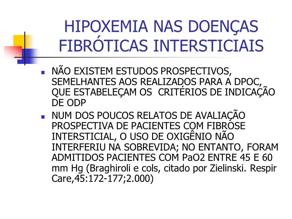 HIPOXEMIA NAS DOENÇAS FIBRÓTICAS INTERSTICIAIS NÃO EXISTEM ESTUDOS PROSPECTIVOS, SEMELHANTES AOS REALIZADOS PARA A DPOC, QUE ESTABELEÇAM OS CRITÉRIOS DE INDICAÇÃO DE ODP NUM DOS POUCOS RELATOS DE AVALIAÇÃO PROSPECTIVA DE PACIENTES COM FIBROSE INTERSTICIAL, O USO DE OXIGÊNIO NÃO INTERFERIU NA SOBREVIDA; NO ENTANTO, FORAM ADMITIDOS PACIENTES COM PaO2 ENTRE 45 E 60 mm Hg (Braghiroli e cols, citado por Zielinski.