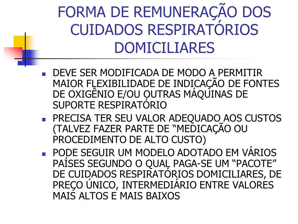 FORMA DE REMUNERAÇÃO DOS CUIDADOS RESPIRATÓRIOS DOMICILIARES DEVE SER MODIFICADA DE MODO A PERMITIR MAIOR FLEXIBILIDADE DE INDICAÇÃO DE FONTES DE OXIGÊNIO E/OU OUTRAS MÁQUINAS DE SUPORTE RESPIRATÓRIO PRECISA TER SEU VALOR ADEQUADO AOS CUSTOS (TALVEZ FAZER PARTE DE MEDICAÇÃO OU PROCEDIMENTO DE ALTO CUSTO) PODE SEGUIR UM MODELO ADOTADO EM VÁRIOS PAÍSES SEGUNDO O QUAL PAGA-SE UM PACOTE DE CUIDADOS RESPIRATÓRIOS DOMICILIARES, DE PREÇO ÚNICO, INTERMEDIÁRIO ENTRE VALORES MAIS ALTOS E MAIS BAIXOS