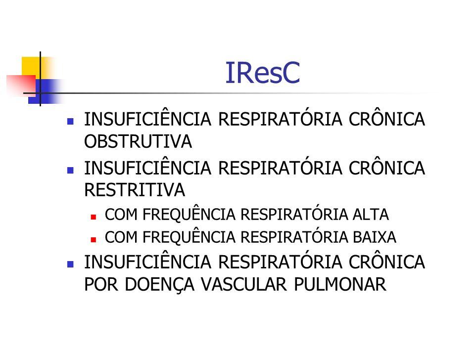 IResC INSUFICIÊNCIA RESPIRATÓRIA CRÔNICA OBSTRUTIVA INSUFICIÊNCIA RESPIRATÓRIA CRÔNICA RESTRITIVA COM FREQUÊNCIA RESPIRATÓRIA ALTA COM FREQUÊNCIA RESPIRATÓRIA BAIXA INSUFICIÊNCIA RESPIRATÓRIA CRÔNICA POR DOENÇA VASCULAR PULMONAR