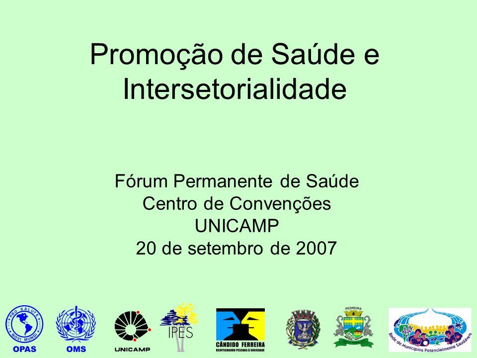 Promoção de Saúde e Intersetorialidade Fórum Permanente de Saúde Centro de Convenções UNICAMP 20 de setembro de 2007