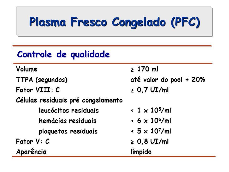 Plasma Fresco Congelado (PFC) Controle de qualidade Volume 170 ml Volume 170 ml TTPA (segundos) até valor do pool + 20% TTPA (segundos) até valor do p