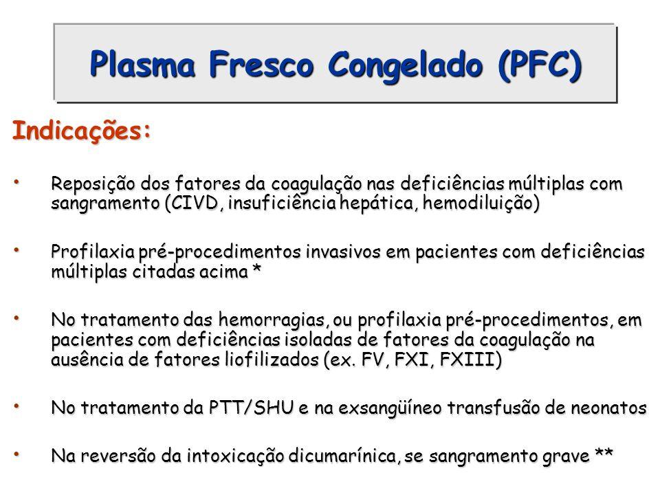Plasma Fresco Congelado (PFC) Indicações: Reposição dos fatores da coagulação nas deficiências múltiplas com sangramento (CIVD, insuficiência hepática