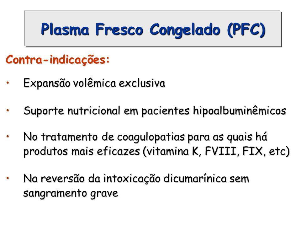 Plasma Fresco Congelado (PFC) Contra-indicações: Expansão volêmica exclusivaExpansão volêmica exclusiva Suporte nutricional em pacientes hipoalbuminêm