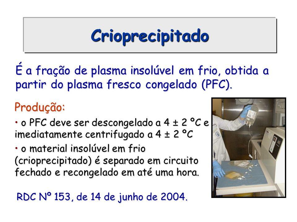 Crioprecipitado Produção: o PFC deve ser descongelado a 4 ± 2 ºC e imediatamente centrifugado a 4 ± 2 ºC o PFC deve ser descongelado a 4 ± 2 ºC e imed