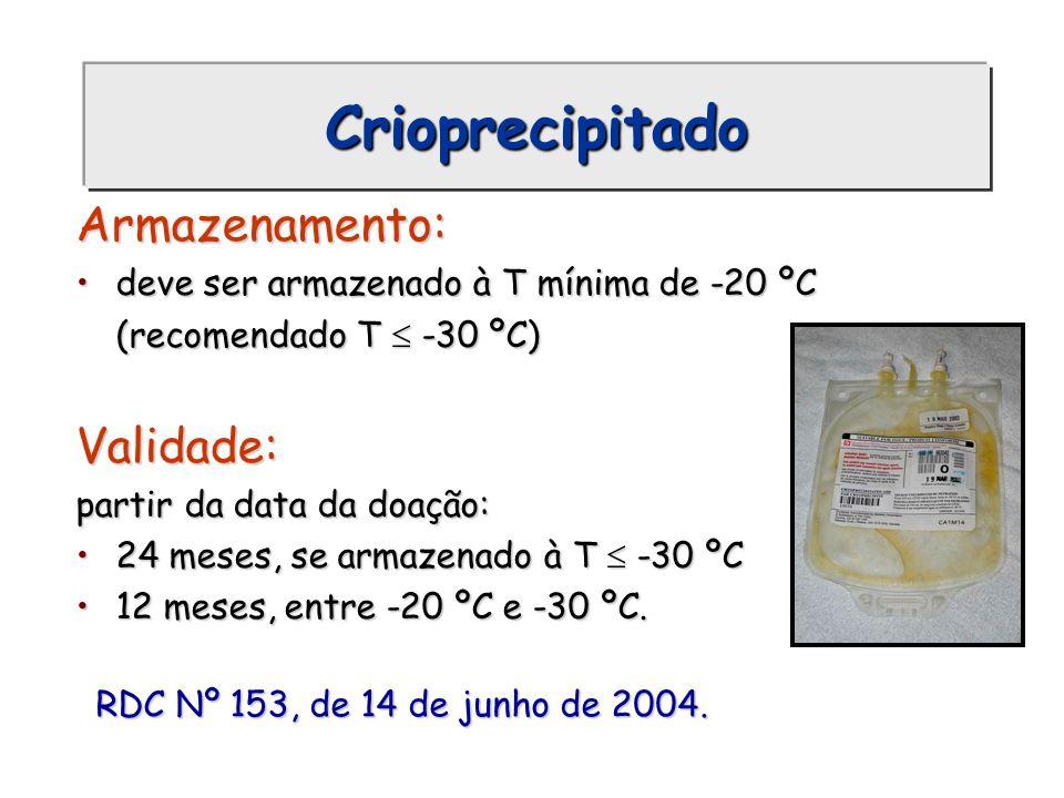 Crioprecipitado Armazenamento: deve ser armazenado à T mínima de -20 ºCdeve ser armazenado à T mínima de -20 ºC (recomendado T -30 ºC) Validade: parti