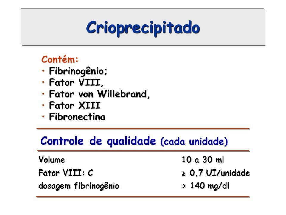 Crioprecipitado Controle de qualidade (cada unidade) Volume 10 a 30 ml Volume 10 a 30 ml Fator VIII: C 0,7 UI/unidade Fator VIII: C 0,7 UI/unidade dos
