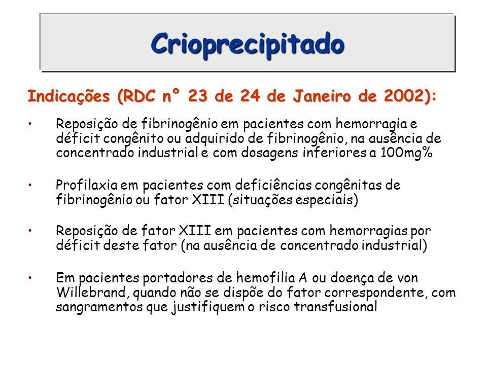 Crioprecipitado Indicações (RDC n° 23 de 24 de Janeiro de 2002): Reposição de fibrinogênio em pacientes com hemorragia e déficit congênito ou adquirid