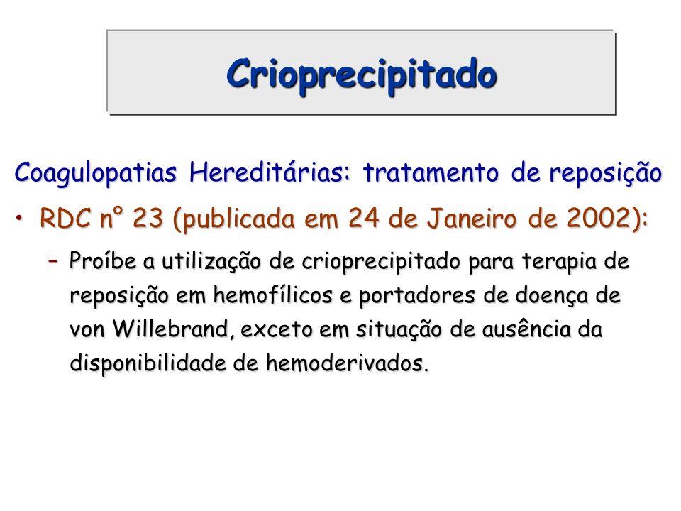 Crioprecipitado Coagulopatias Hereditárias: tratamento de reposição RDC n° 23 (publicada em 24 de Janeiro de 2002):RDC n° 23 (publicada em 24 de Janei
