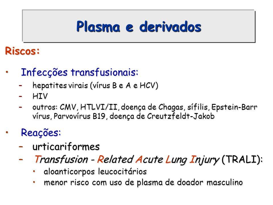 Plasma e derivados Riscos: Infecções transfusionais:Infecções transfusionais: –hepatites virais (vírus B e A e HCV) –HIV –outros: CMV, HTLVI/II, doenç