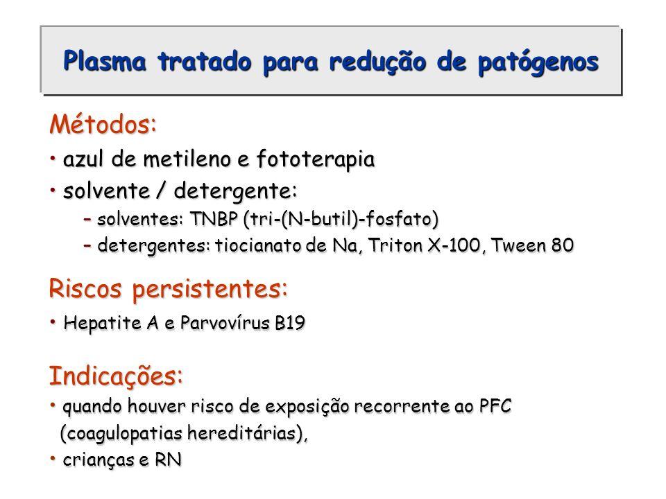 Plasma tratado para redução de patógenos Métodos: azul de metileno e fototerapia azul de metileno e fototerapia solvente / detergente: solvente / dete