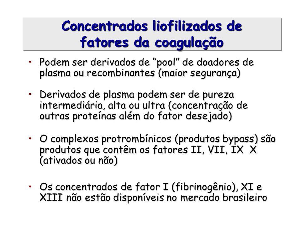 Podem ser derivados de pool de doadores de plasma ou recombinantes (maior segurança)Podem ser derivados de pool de doadores de plasma ou recombinantes