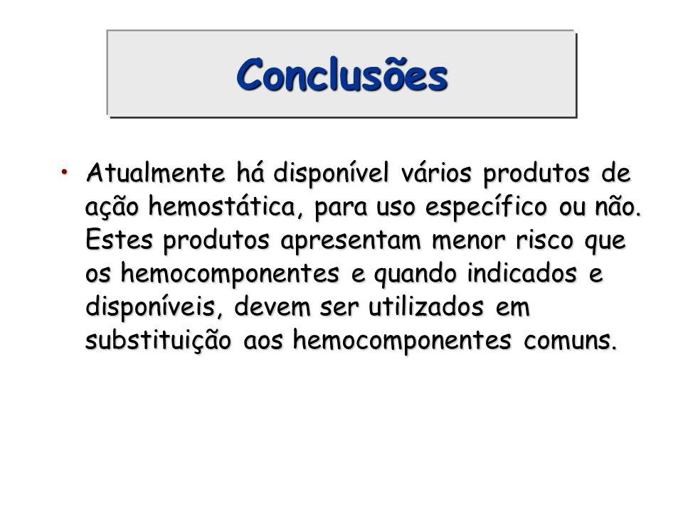 Conclusões Atualmente há disponível vários produtos de ação hemostática, para uso específico ou não. Estes produtos apresentam menor risco que os hemo