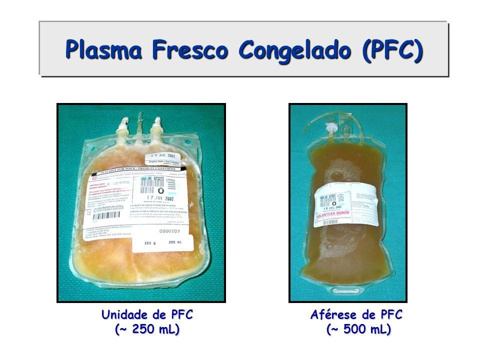 Plasma Fresco Congelado (PFC) Unidade de PFC (~ 250 mL) Aférese de PFC (~ 500 mL) (~ 500 mL)