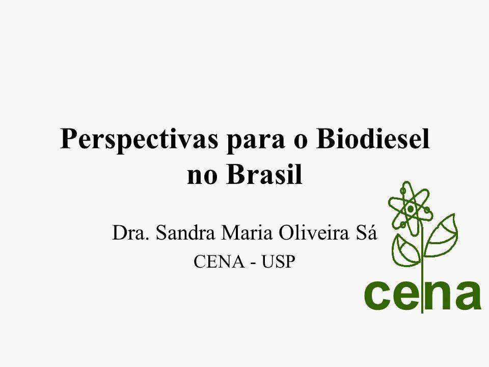 Perspectivas para o Biodiesel no Brasil Dra. Sandra Maria Oliveira Sá CENA - USP