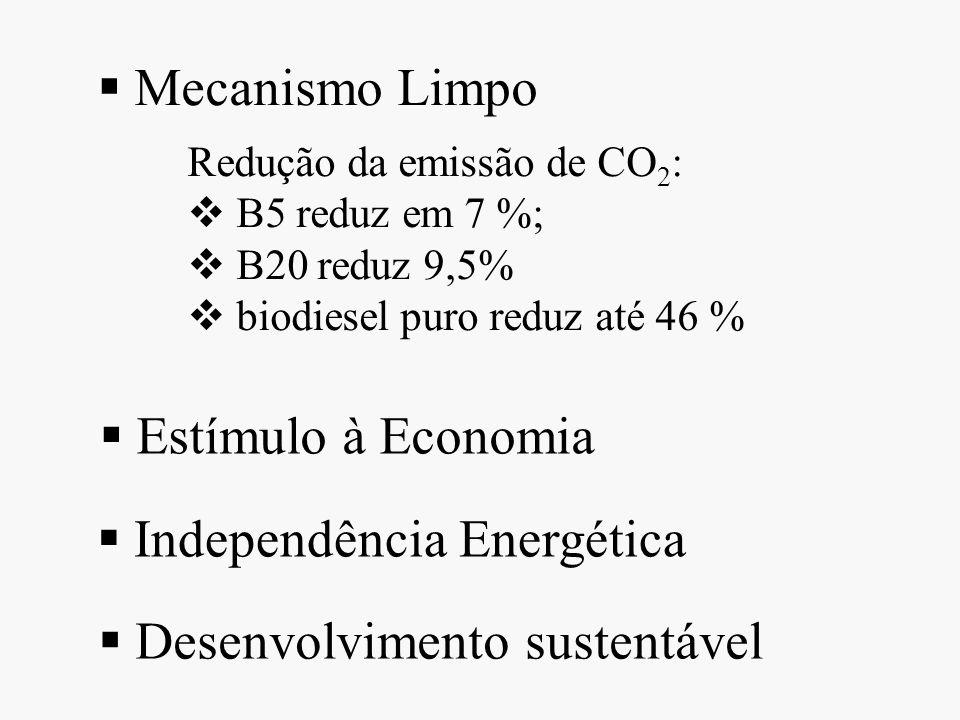 Redução da emissão de CO 2 : B5 reduz em 7 %; B20 reduz 9,5% biodiesel puro reduz até 46 % Mecanismo Limpo Estímulo à Economia Independência Energétic