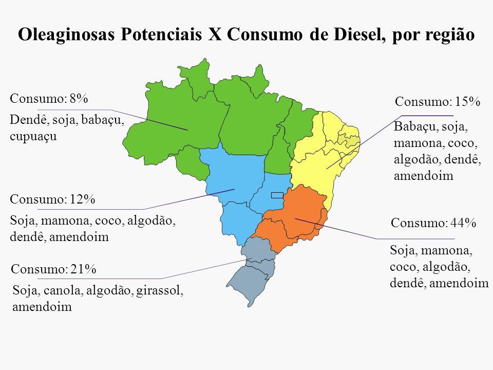 Oleaginosas Potenciais X Consumo de Diesel, por região Consumo: 8% Consumo: 12% Consumo: 21% Consumo: 15% Consumo: 44% Dendê, soja, babaçu, cupuaçu So