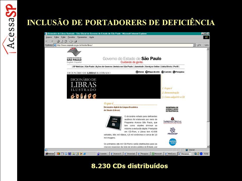 INCLUSÃO DE PORTADORERS DE DEFICIÊNCIA 8.230 CDs distribuídos