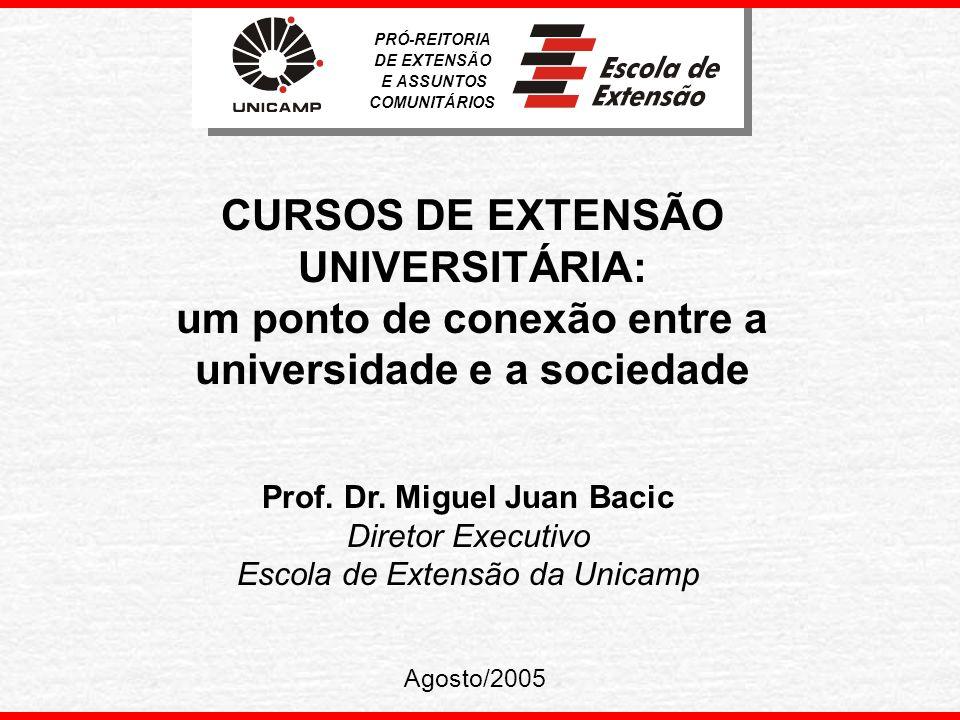 Histórico A educação continuada fez parte do projeto inicial da Unicamp.
