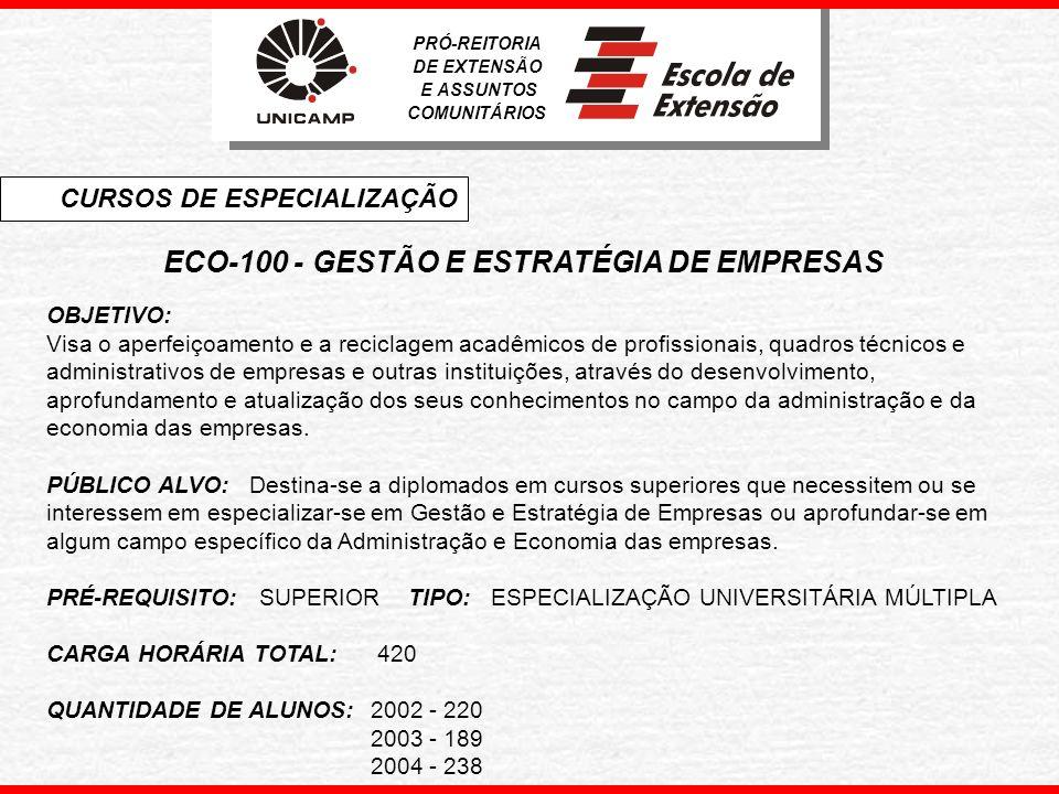 ECO-200 - ECONOMIA FINANCEIRA OBJETIVO: Complementar a formação, atualizar e/ou reciclar profissionais que atuam com economia financeira.
