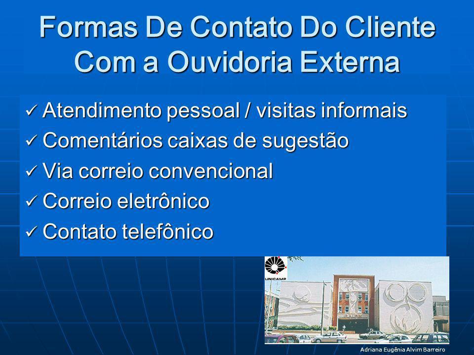 Formas De Contato Do Cliente Com a Ouvidoria Externa Atendimento pessoal / visitas informais Atendimento pessoal / visitas informais Comentários caixa