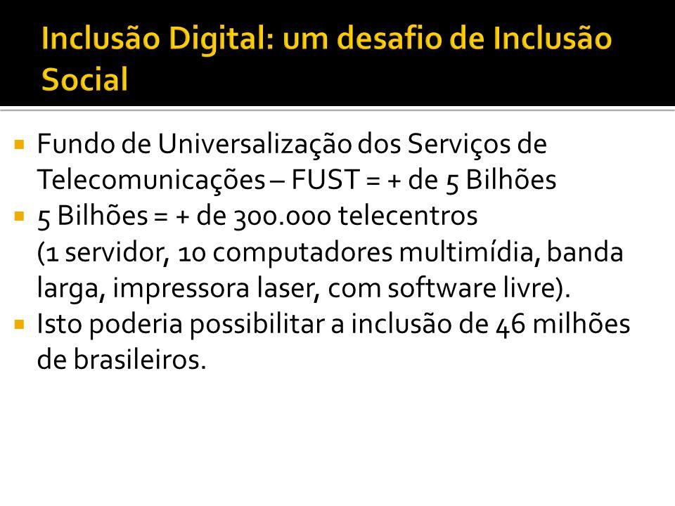 Fundo de Universalização dos Serviços de Telecomunicações – FUST = + de 5 Bilhões 5 Bilhões = + de 300.000 telecentros (1 servidor, 10 computadores multimídia, banda larga, impressora laser, com software livre).