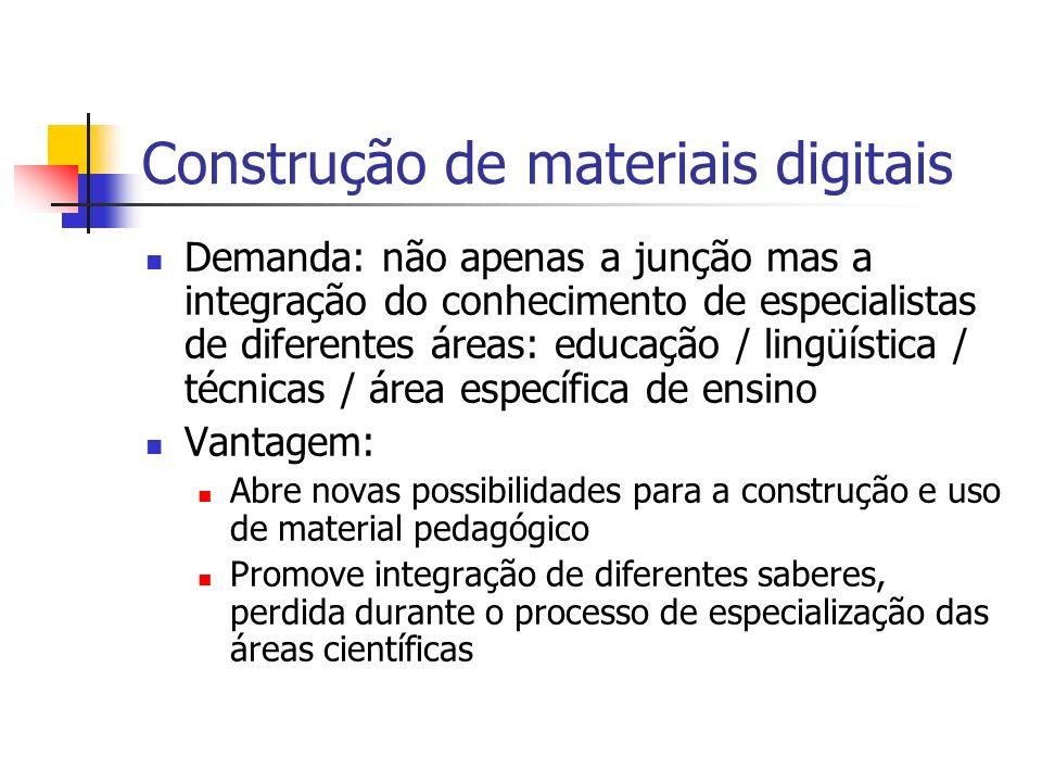 Construção de materiais digitais Demanda: não apenas a junção mas a integração do conhecimento de especialistas de diferentes áreas: educação / lingüí