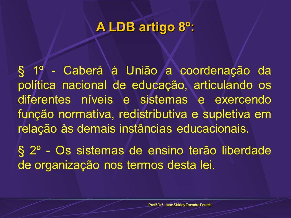Profª Drª. Jane Shirley Escodro Ferretti A LDB artigo 8º: § 1º - Caberá à União a coordenação da política nacional de educação, articulando os diferen