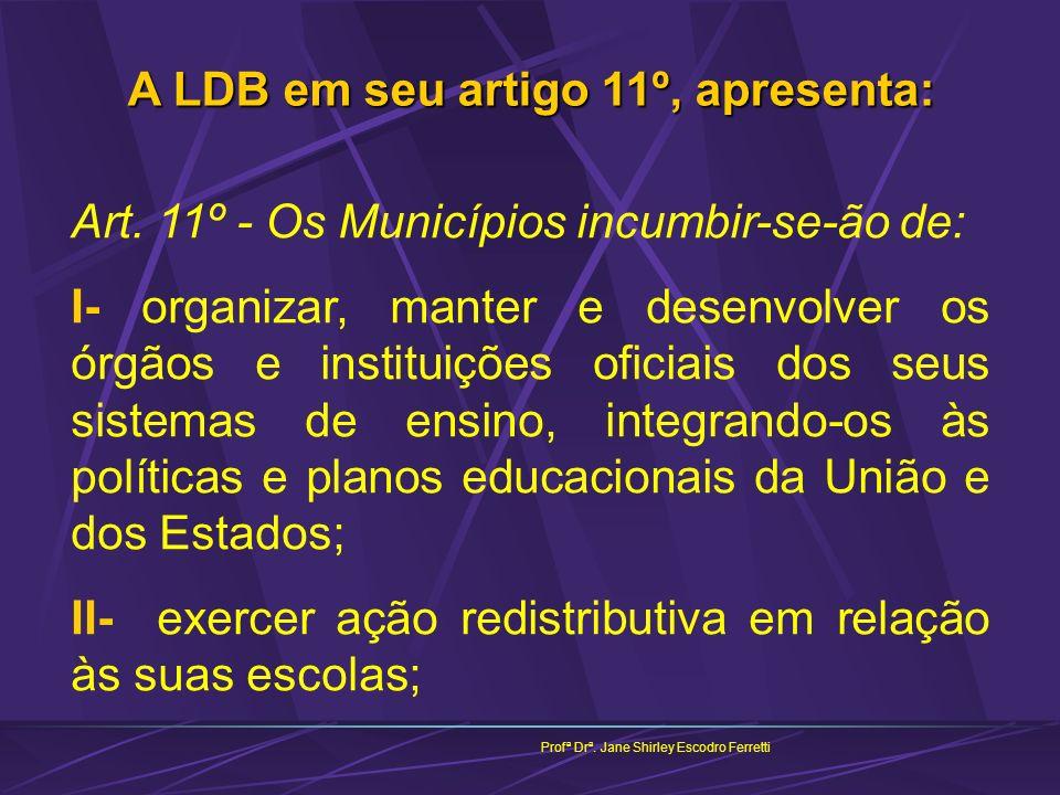 Profª Drª. Jane Shirley Escodro Ferretti A LDB em seu artigo 11º, apresenta: Art. 11º - Os Municípios incumbir-se-ão de: I- organizar, manter e desenv