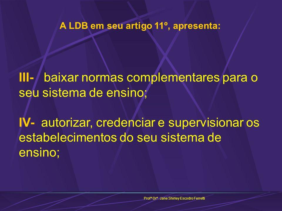 Profª Drª. Jane Shirley Escodro Ferretti A LDB em seu artigo 11º, apresenta: III- baixar normas complementares para o seu sistema de ensino; IV- autor