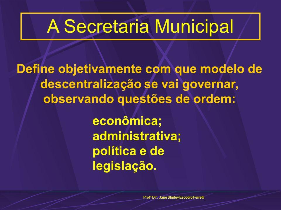 A Secretaria Municipal Profª Drª. Jane Shirley Escodro Ferretti econômica; administrativa; política e de legislação. Define objetivamente com que mode