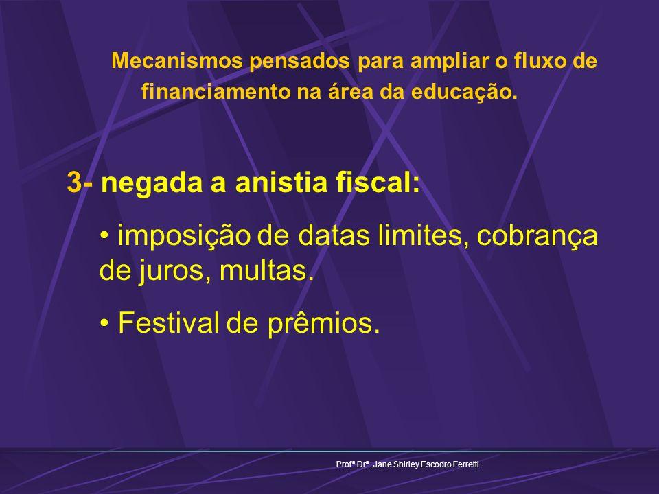 Mecanismos pensados para ampliar o fluxo de financiamento na área da educação. Profª Drª. Jane Shirley Escodro Ferretti 3- negada a anistia fiscal: im