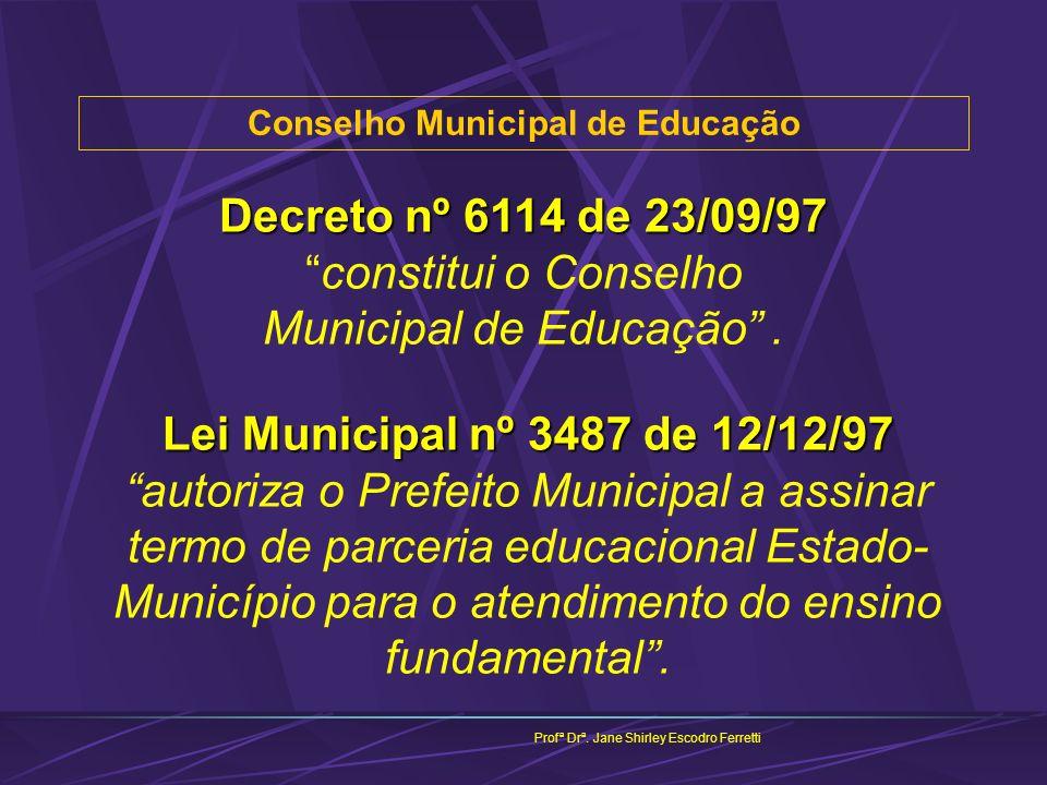 Conselho Municipal de Educação Profª Drª. Jane Shirley Escodro Ferretti Decreto nº 6114 de 23/09/97 Decreto nº 6114 de 23/09/97constitui o Conselho Mu