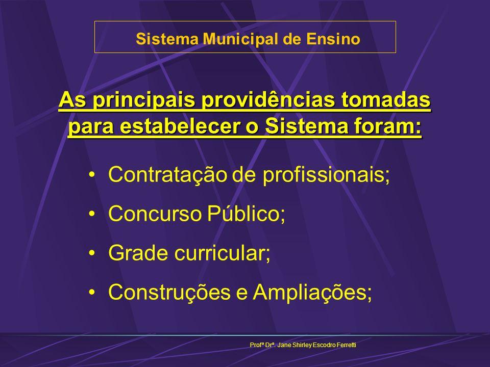 Sistema Municipal de Ensino Profª Drª. Jane Shirley Escodro Ferretti As principais providências tomadas para estabelecer o Sistema foram: Contratação