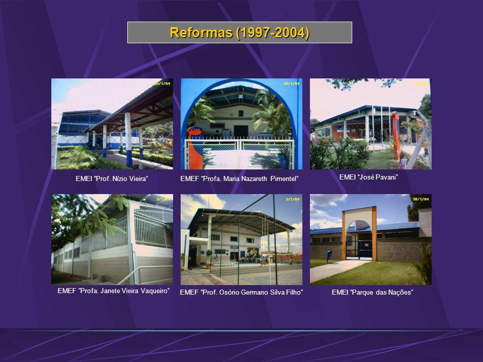 Reformas (1997-2004) EMEF Prof. Osório Germano Silva Filho EMEF Profa. Janete Vieira Vaqueiro EMEF Profa. Maria Nazareth PimentelEMEI Prof. Nízio Viei