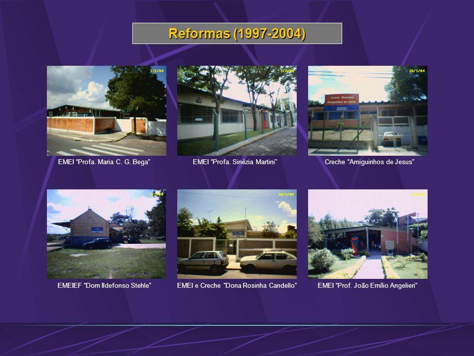 Reformas (1997-2004) EMEI Profa. Maria C. G. BegaEMEI Profa. Sinézia MartiniCreche Amiguinhos de Jesus EMEIEF Dom Ildefonso StehleEMEI e Creche Dona R