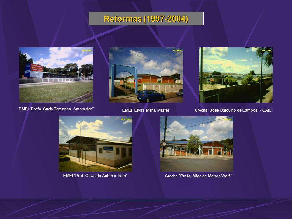 Reformas (1997-2004) EMEI Profa. Suely Terezinha Amstalden EMEI Elvira Maria Maffei Creche José Balduino de Campos - CAIC EMEI Prof. Oswaldo Antonio T